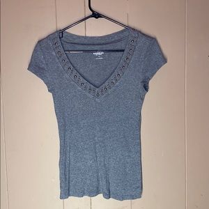 Gray short sleeved shirt with bedazzled collar